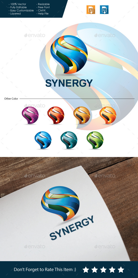 Synergy - 3D Letter S - 3d Abstract