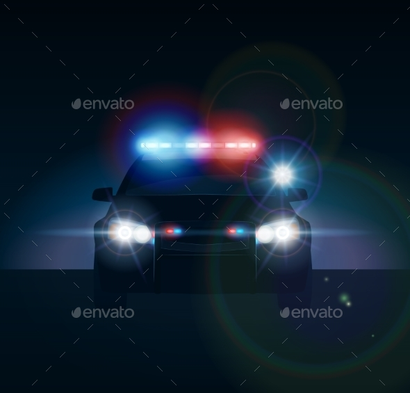 Police Car at Night.  - Miscellaneous Vectors