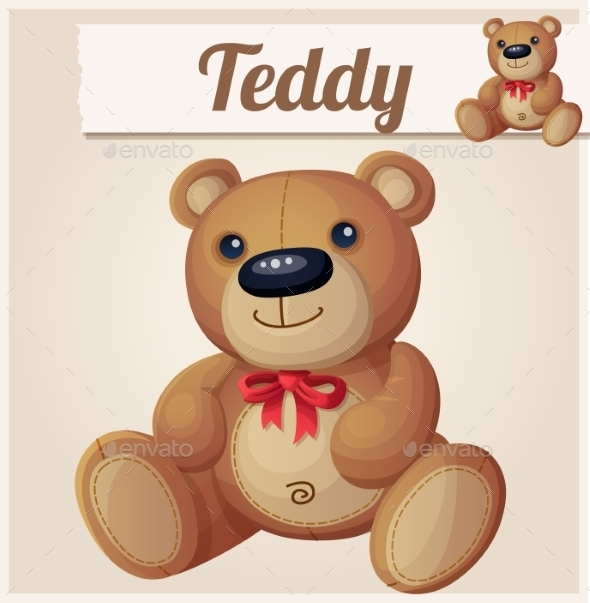 Teddy Bear with Red Bow. - Miscellaneous Vectors