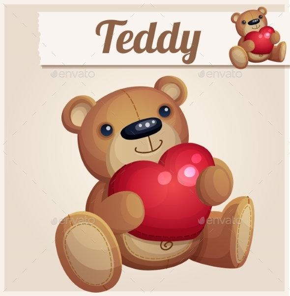 Teddy Bear with Red Heart.  - Valentines Seasons/Holidays