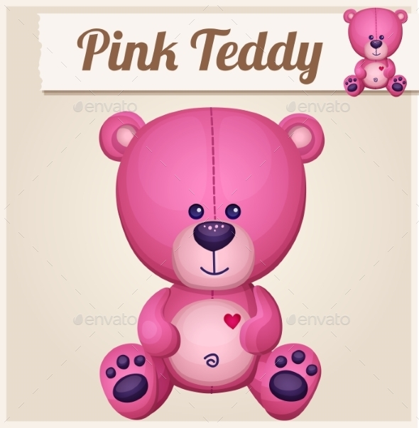 Pink Teddy Bear. - Miscellaneous Vectors