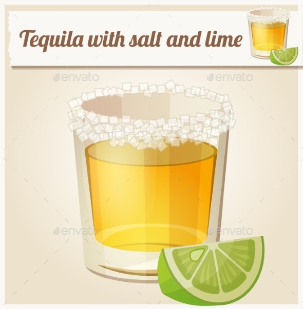 Tequila with Salt and Lime. - Food Objects