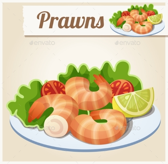 Prawns. Detailed Vector Icon. - Food Objects