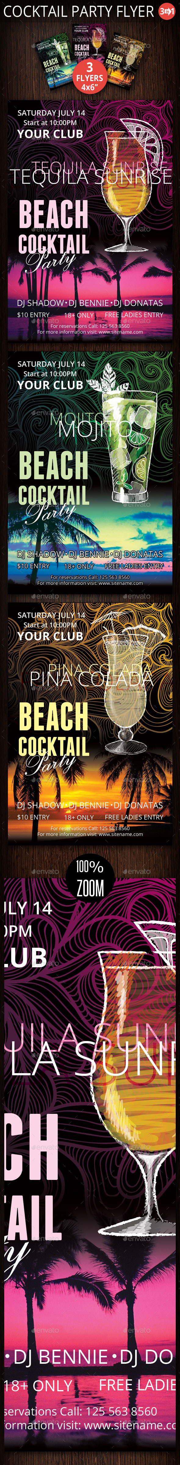 Three Cocktail Party Flyer - Clubs & Parties Events
