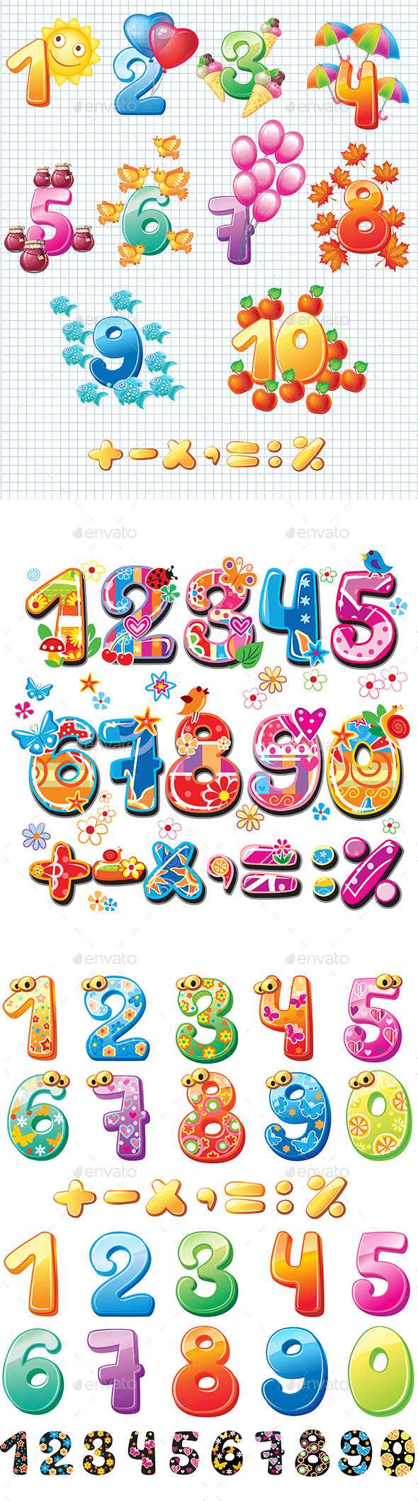 Colorful Numbers for Children - Decorative Symbols Decorative