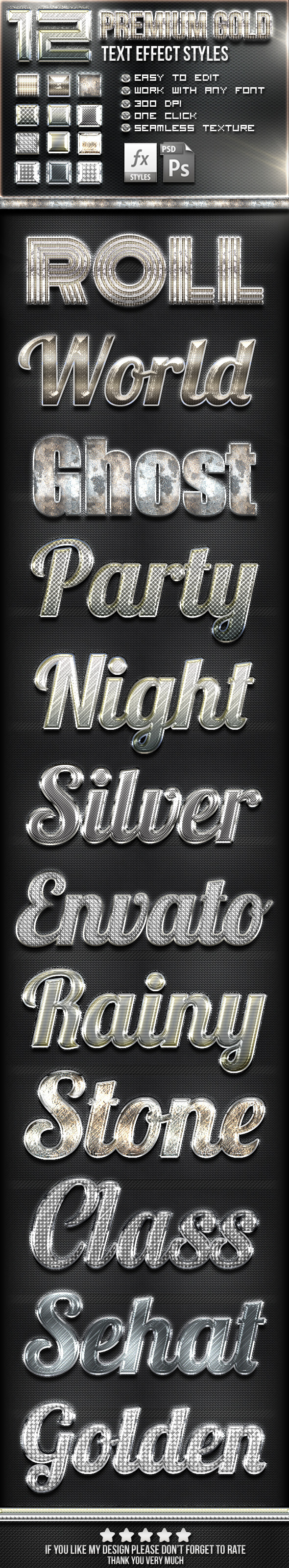 12 Silver Photoshop Text Effect Styles - Text Effects Styles