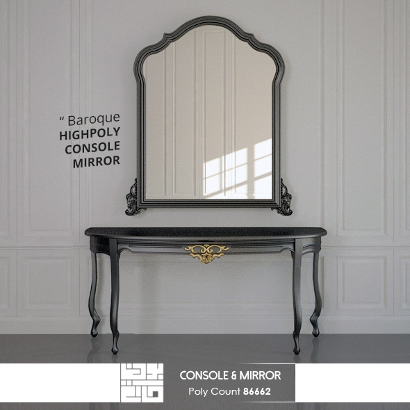 Console And Mirror Baroque 3D Model - 3DOcean Item for Sale