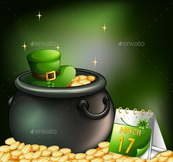 Pot of Gold Coins with a Hat and a Calendar  - Man-made Objects Objects