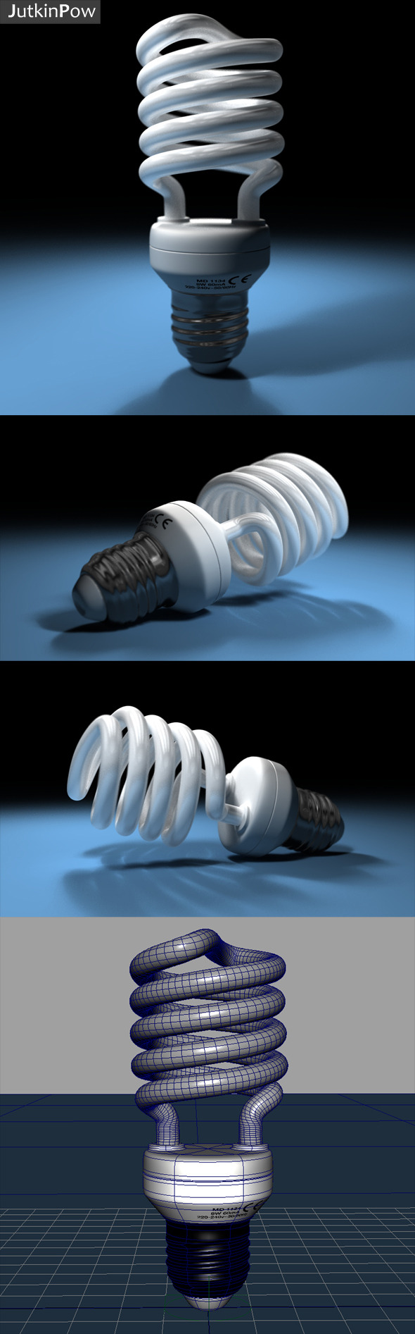 Photorealistic Compact Fluorescent Bulb - 3DOcean Item for Sale