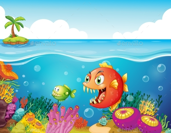 Sea with Colorful Coral Reefs and Fishes   - Animals Characters