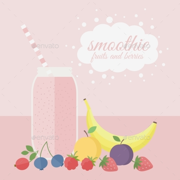 Fruit and Berry Smoothie - Food Objects