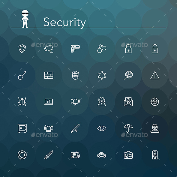 Security Line Icons - Objects Icons