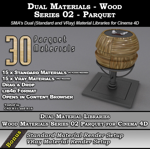 SMA's Dual Material Pack - Wood-S02 - Parquet C4D - 3DOcean Item for Sale