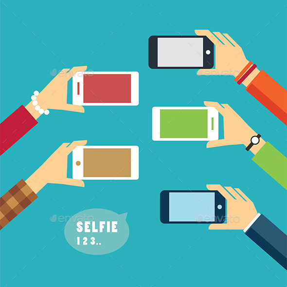 Taking a Selfie Photo Flat Design - Objects Vectors