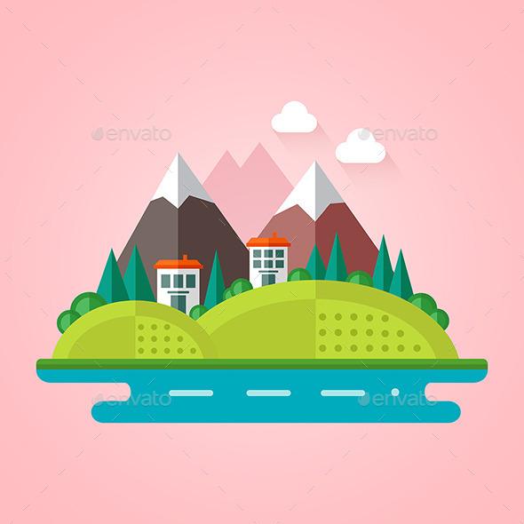 Landscape Flat Icon - Landscapes Nature