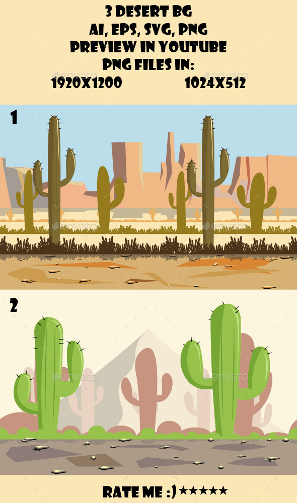 2 Desert BG - Backgrounds Game Assets