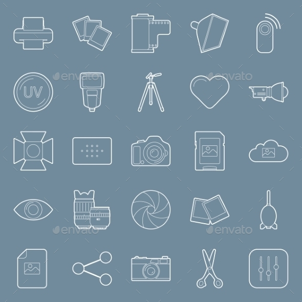 Photo Equipment Line Icons - Miscellaneous Conceptual
