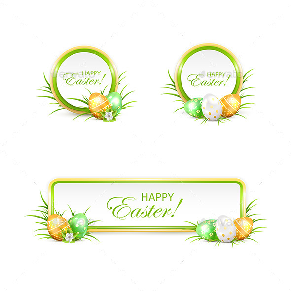 Set of Easter Banners and Eggs - Miscellaneous Seasons/Holidays