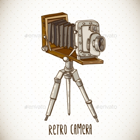 Vintage Card with Retro Camera - Patterns Decorative