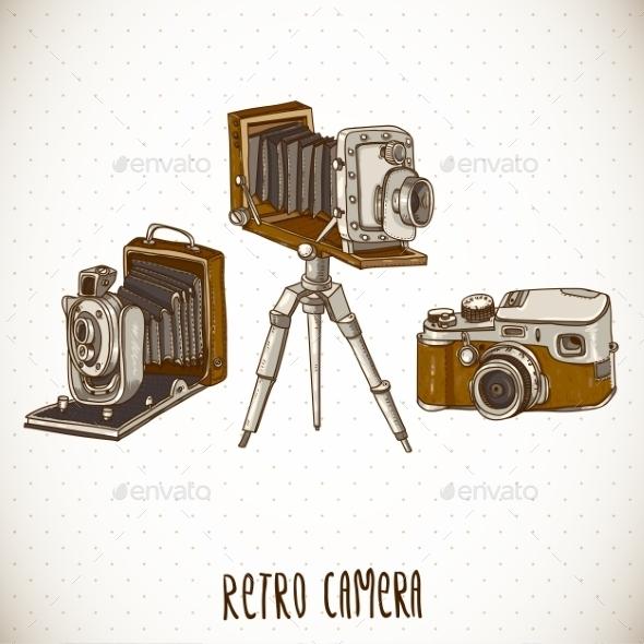 Set of Vintage Retro Cameras - Patterns Decorative