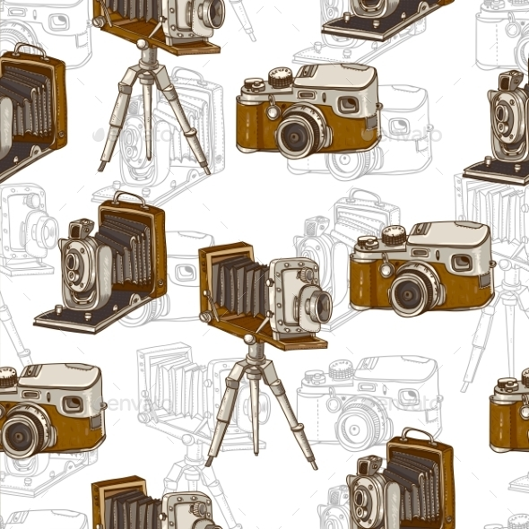 Vintage Seamless Background with Retro Cameras - Patterns Decorative