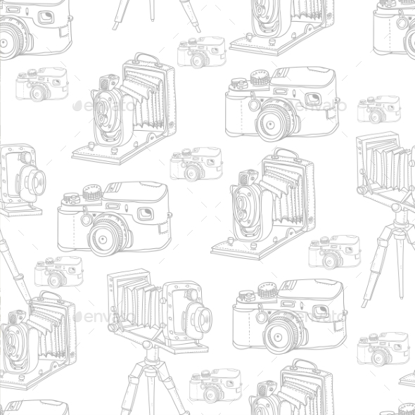 Vintage Seamless Background with Retro Camera - Patterns Decorative