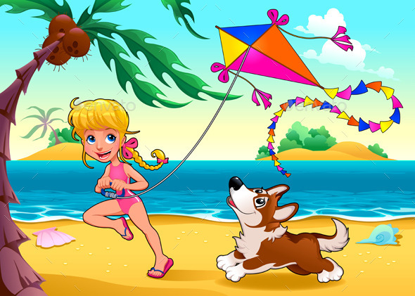 Girl and Dog on the Beach - Sports/Activity Conceptual