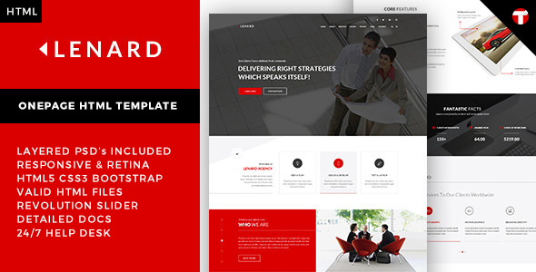 Lenard – Onepage Business Responsive Site Template