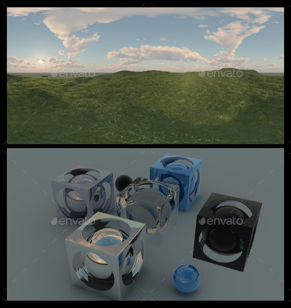 Grass Field Dawn HDRI - 3DOcean Item for Sale