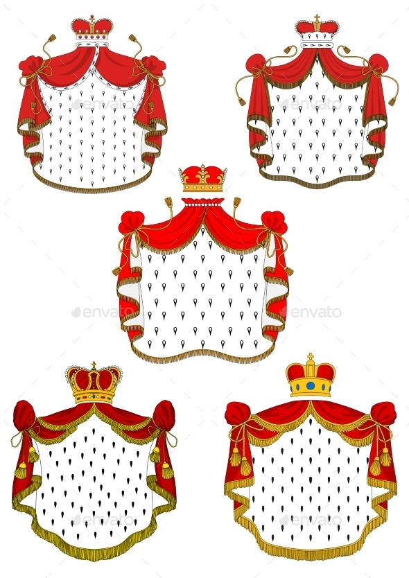 Heraldic Red Royal Mantles Set - Decorative Symbols Decorative
