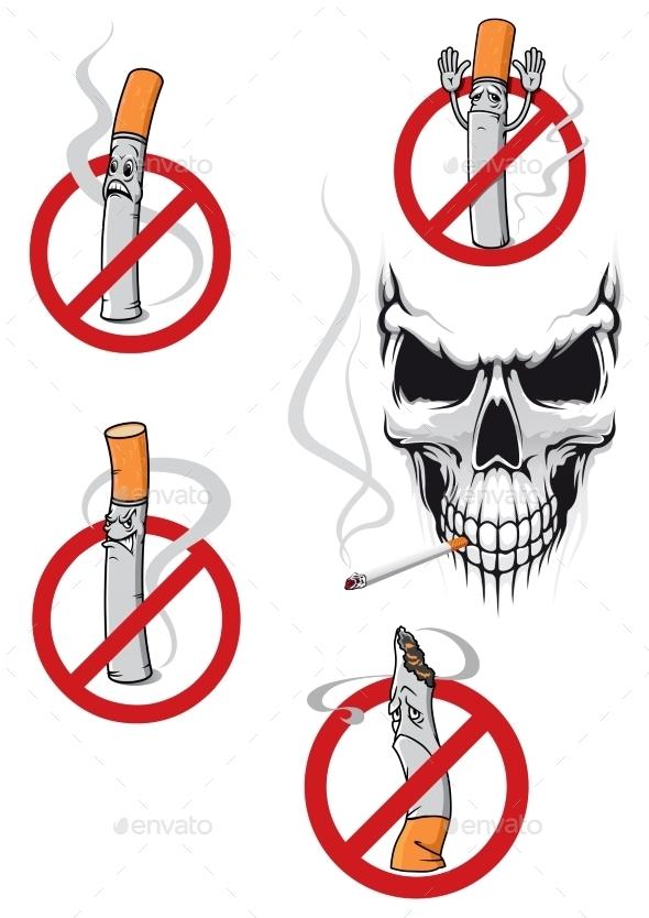 No Smoking Sign and Skull - Health/Medicine Conceptual