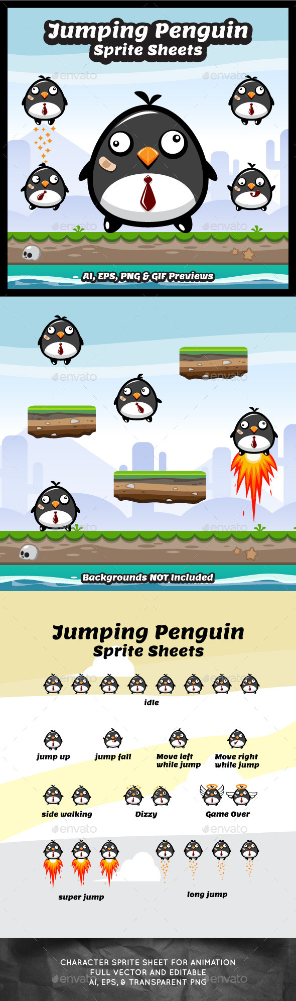 Jumping Penguin Sprite Sheets - Sprites Game Assets