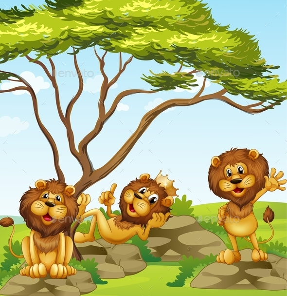 A Group of Lions - Animals Characters