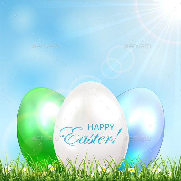Three Easter Eggs in the Grass - Miscellaneous Seasons/Holidays
