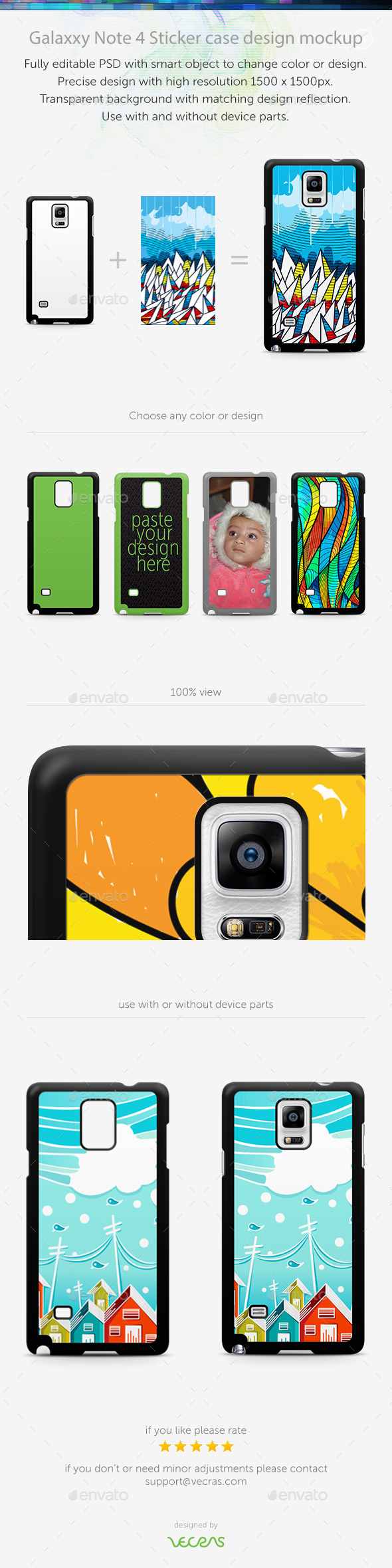 Galaxxy Note 4 Sticker Case Design Mockup - Displays Product Mock-Ups