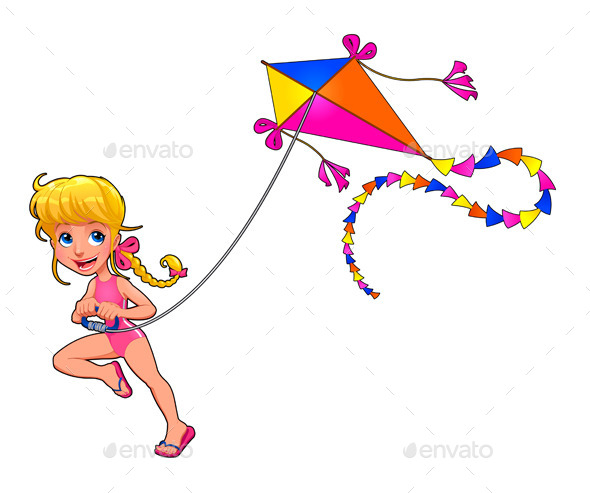 Girl Playing with a Kite - People Characters