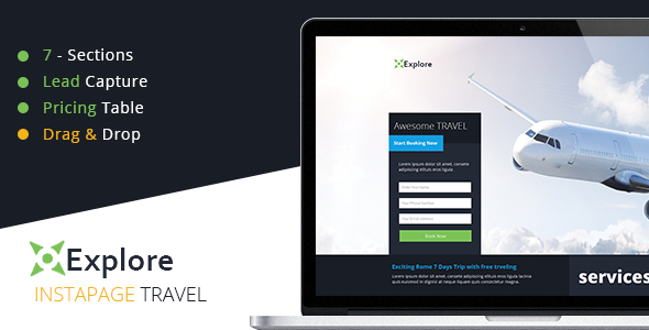 Explore - Travel Instapage Template  - Instapage Marketing