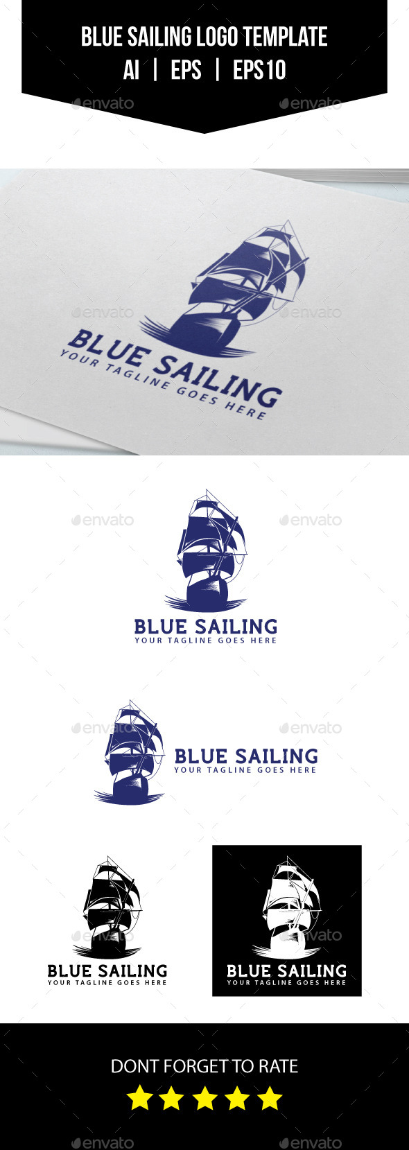 Blue Sailing Logo Template - Objects Logo Templates