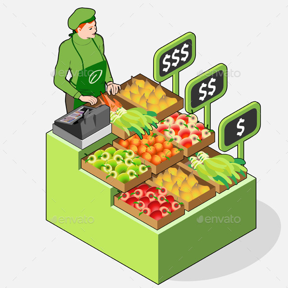 Isometric Greengrocer Shop - People Characters