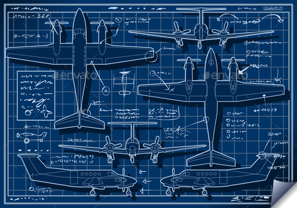 Infographic Airplane Blue Print Project - Man-made Objects Objects
