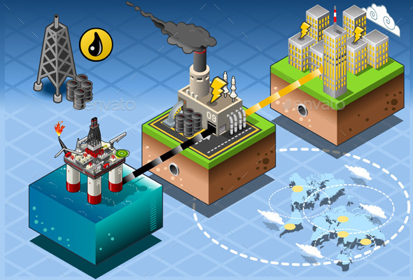 Isometric Infographic Petroleum Rig Energy Diagram - Buildings Objects