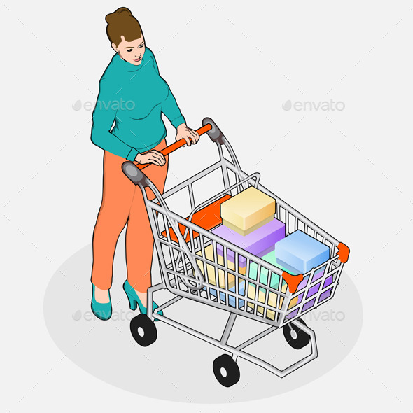 Isometric Walking Woman with Empty Shopping Cart - People Characters