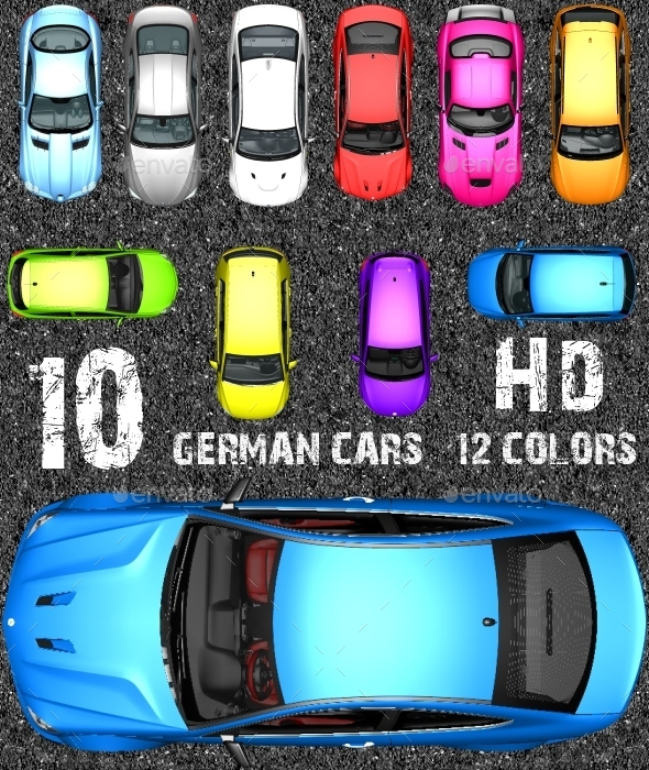 Top Down Racing Game Kit - German Sports Cars !!! - Illustrations Graphics