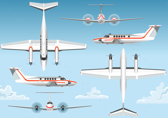 Orthogonal Views of a Flying Airplane - Man-made Objects Objects