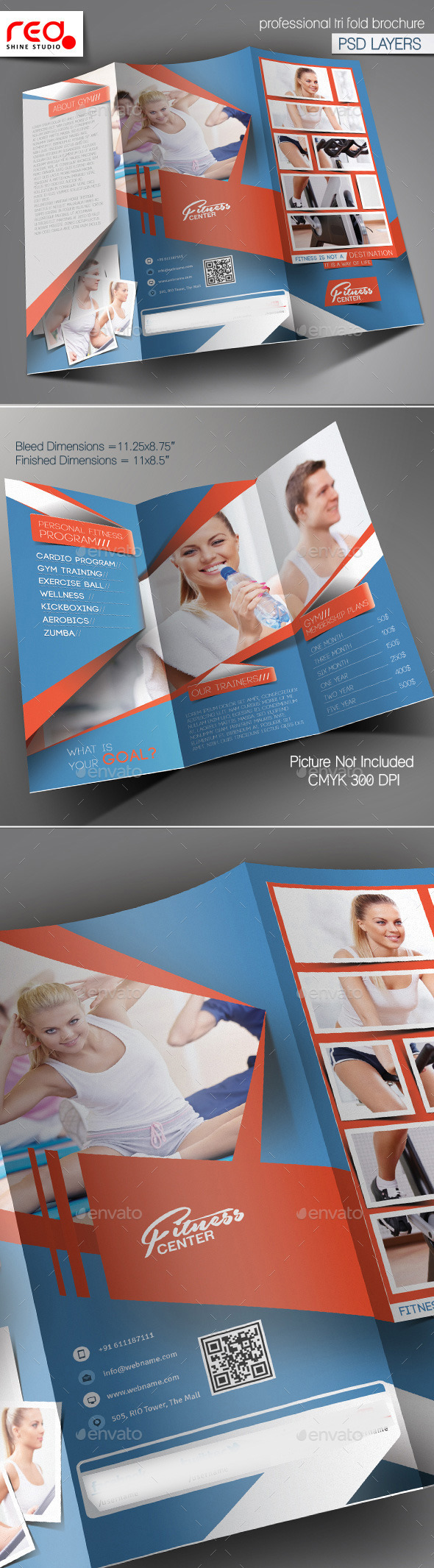 Fitness Club Trifold Brochure Template - Corporate Brochures