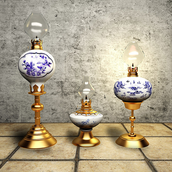 Detail classic oil lamp - 3DOcean Item for Sale