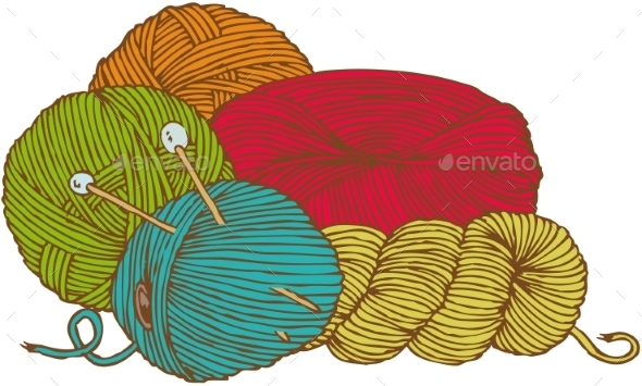Five Hanks of Yarn with Needles - Man-made Objects Objects