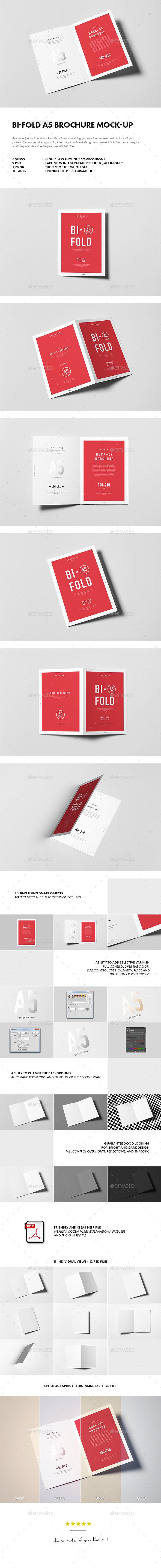 Bi-Fold A5 Brochure / Leaflet Mock-up - Brochures Print