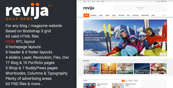 Revija - Premium Blog/Magazine HTML Template