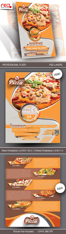 Pizza Shop Flyer & Menu Card Template - Restaurant Flyers